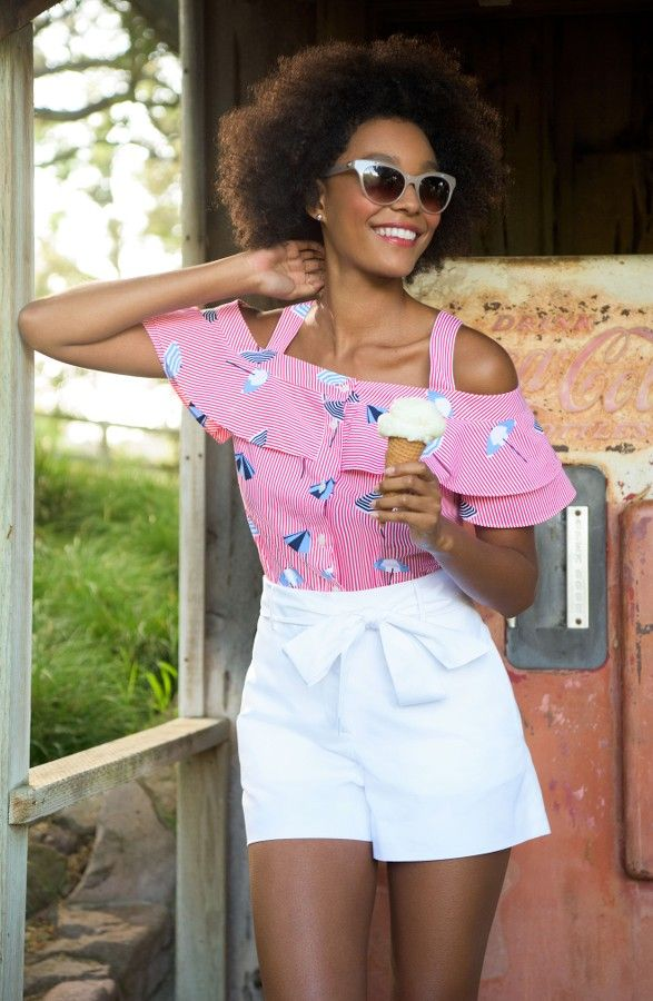 Ice cream for everyone! This ruffled, cold-shoulder top is pefect for any casual summer get together.