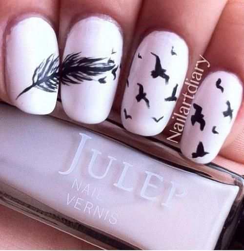 Birds of a feather nail art. I will do this one day :D