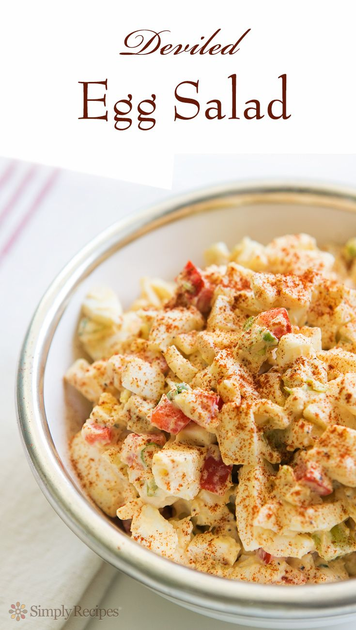 Deviled Egg Salad ~ An egg salad made in the style of deviled eggs, with mustard, mayo, hot sauce and paprika. So easy! Perfect for an #Easter luncheon or for post-Easter sandwiches. On SimplyRecipes.com