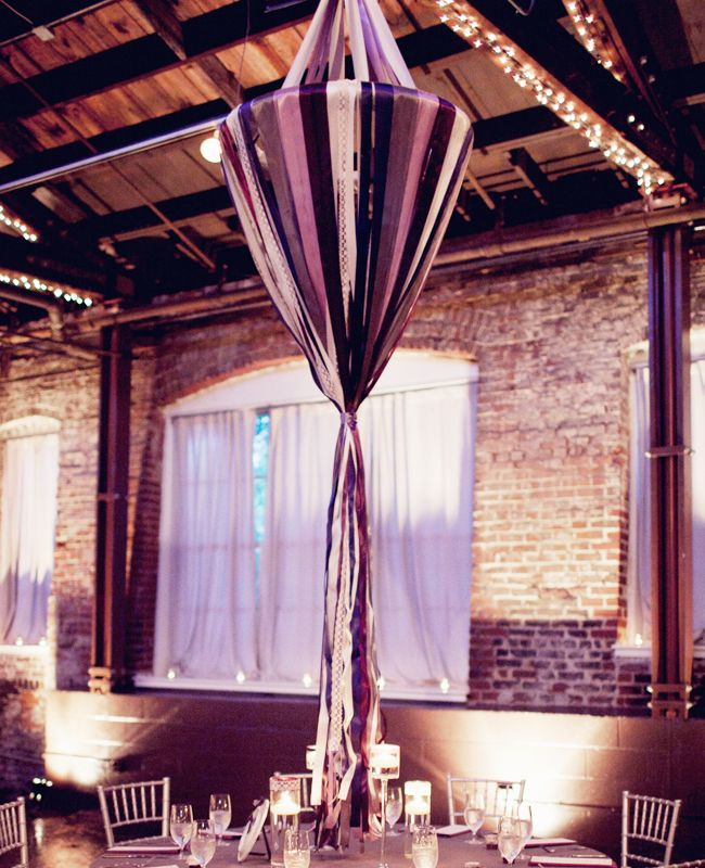 DIY ribbon wedding decor: Hanging Ribbon Chandelier (Laura Leslie Photography / TheKnot.com)