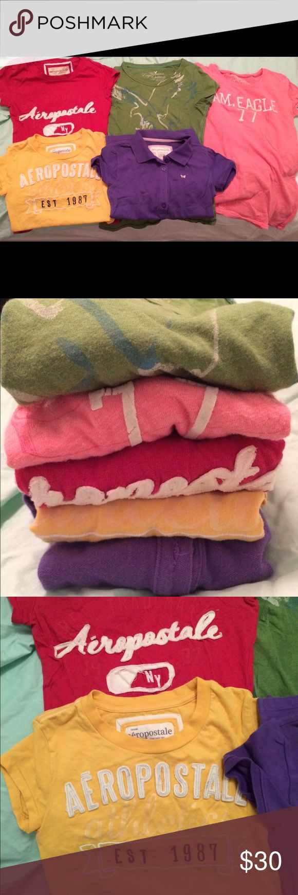 💄💋BUNDLE; size xs 5 tshirts!!!💄💋 All size xs t shirts! Barely worn; only for a few seconds of trying on and then washed with laundry machine! Bundle of 5!!! Mix of Aeropostale and American eagle shirts! American Eagle Outfitters Other