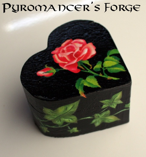 Handcrafted Black Heart Shaped Rose Decorated Wooden Ring Box from Pyromancers Forge