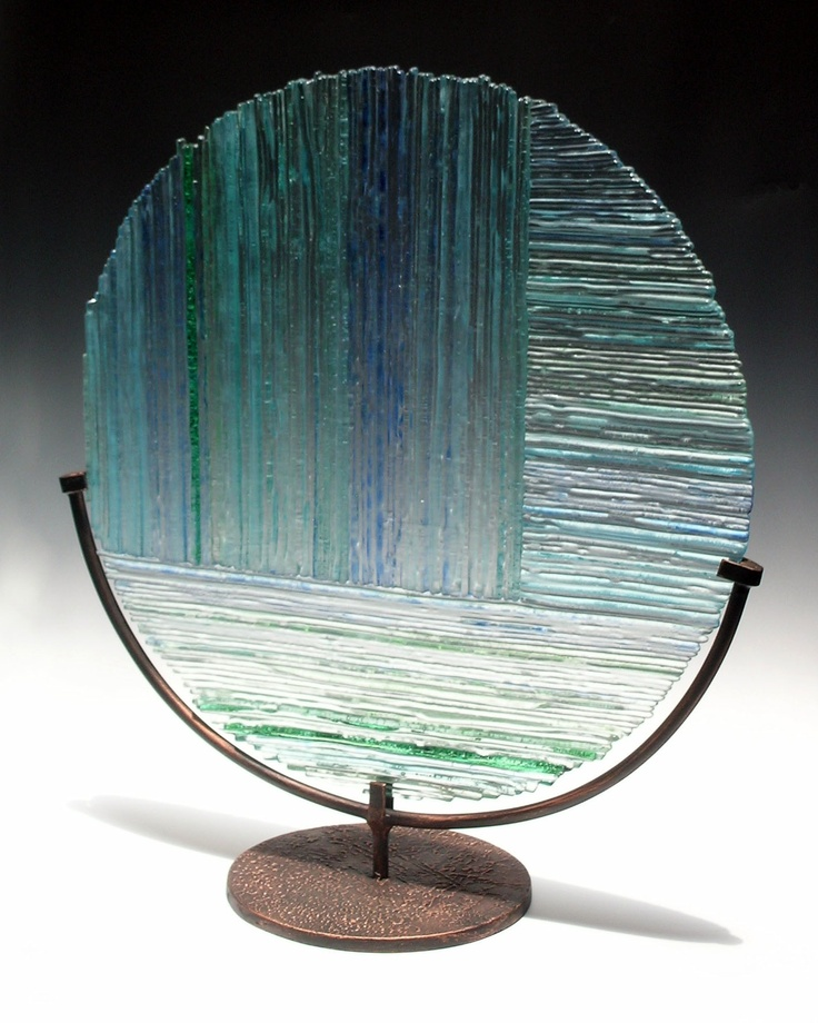 Rain- kiln formed glass 50 cm diam.