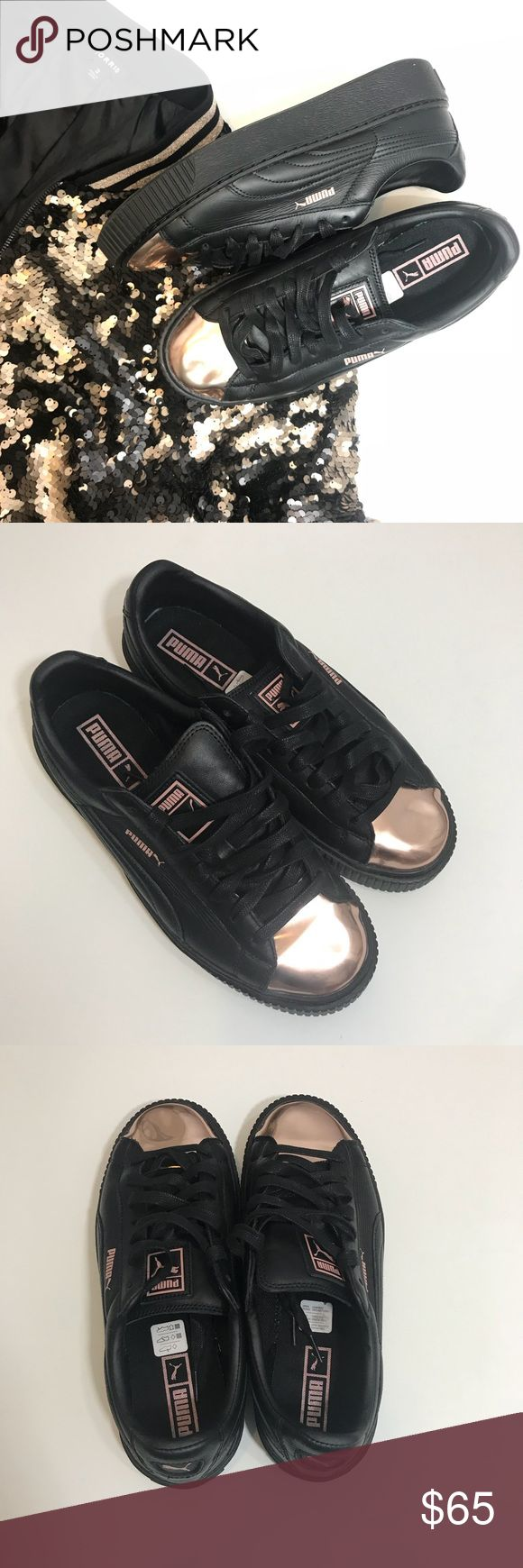 Puma Basket Metallic Shoes Rose Gold Black 10 Puma Women's Basket Platform Metallic Shoes Sneakers Rose Gold Black. Leather upper; Faux Rose Gold overlay at toebed Lace closure for a snug fit Platform rubber outsole with ridged tooling at toe PUMA Formstrip PUMA Basket callout at lateral side PUMA Logo Label at tongue very little signs of wear. Size 10 Woman Puma Shoes Sneakers
