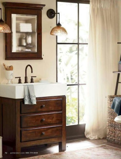 Small Rustic Farmhouse Sink Cabinet Bathrooms Pinterest Rustic