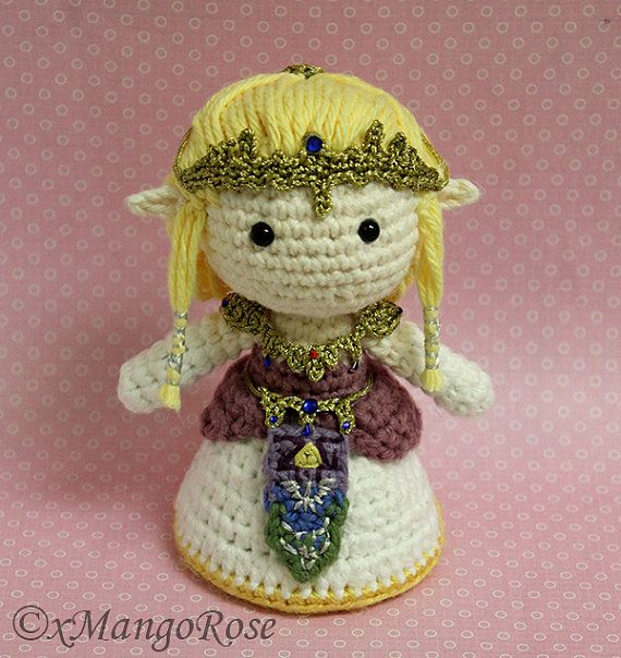 Princesa Zelda Amigurumi muñeca peluche (ganchillo patrón único, Digital Download), Gamer regalos, regalo juego de Video, Geek, geek, Nerd, nerd