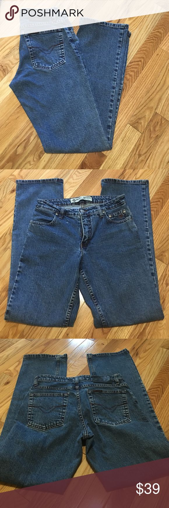 Harley Davidson jeans Harley Davidson bootcut jeans size 6 inseam 31. EUC No rips, stains, holes or cuff fraying. Has one small snag on upper left side by pocket as seen in pic # 2 Harley name patch on back waist band and pocket. Harley logo embroidered on left coin pocket. Harley-Davidson Jeans Boot Cut