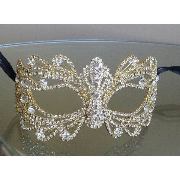 Rhinestone Crystal Masquerade Gold Mask/Masquerade Wedding/Gold... ($79) ❤ liked on Polyvore featuring costumes, crystal costume, masquerade halloween costumes, black halloween costumes, black costume and masquerade costumes