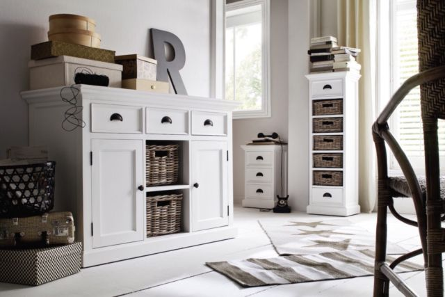 This variation on our classic buffet offers clever storage versitality with its combination of generous drawers, hand-woven baskets and fixed shelving behind shaker style doors. It's the ideal piece for the living or dining room, housing linens, housewares, or wine glasses