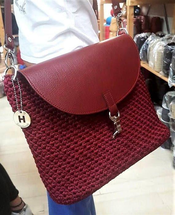 DIY Shoulder Bag kit crotchet bag craft kit crochet leather
