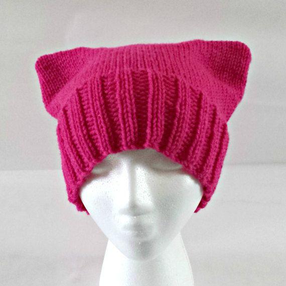Pink knit cat hat handknit hat pink cat beanie by KnittingbyKali