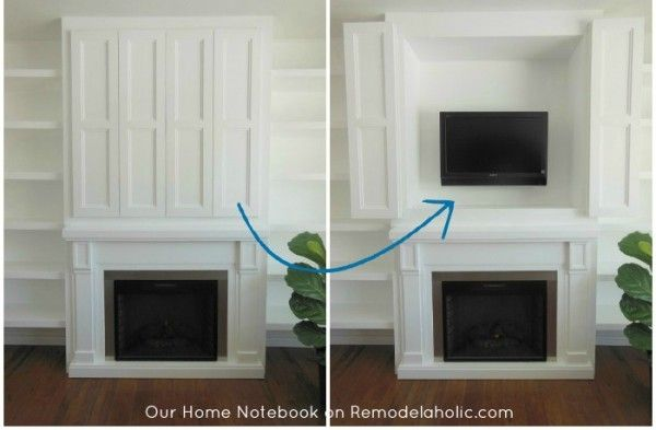 hidden tv nook in fireplace shelving unit (Our Home Notebook)