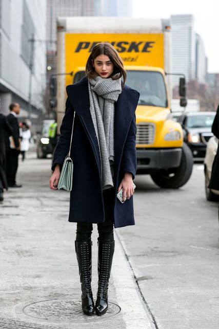 Fall trends | Navy coat, grey scarf, leather pants, boots