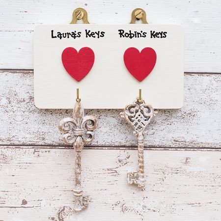 Personalised key hooks with hearts