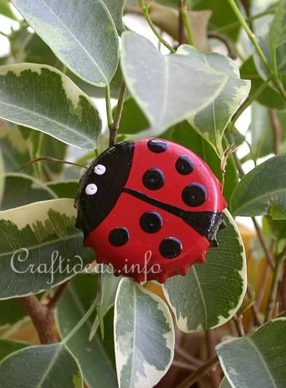 Bottle Cap Lady Bugs. Bottle caps, Acrylic Paints (black,white,red), Paint Brush, & Toothpick. Paint bottle cap with black paint. Once dry, add 2nd coat of black & let dry before continuing. About 1/5th down from one side, paint 2 red halves, leaving a black line down the middle of lady bug that gets wider at the bottom. Dip end of a paint brush in black & dot black spots on wing sections once the red is dry. Dip a toothpick into white paint. Dot 2 eyes on the top black section to resemble…
