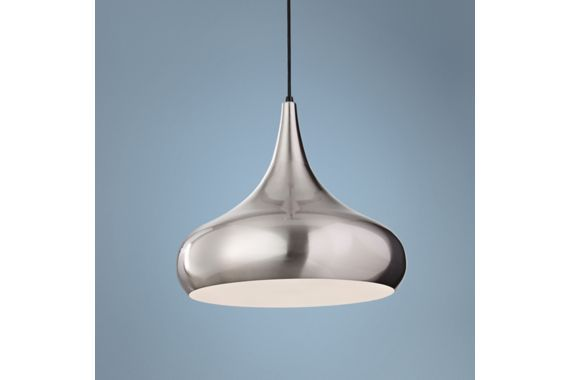 Feiss Beso Steel with White 18-Inch-W Pendant Light - #EUX4100 - Euro Style Lighting