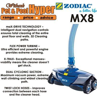 The MX8 begins a new era for automatic pool cleaners. Boasting the latest in pool-cleaning technology, it is an engineering and design masterpiece that performs in a class of its own. Every pool owner deserves to experience the awesome performance of the MX8. Available from Pet & Pool Hyper Witbank. #mx8 #poolcleaners