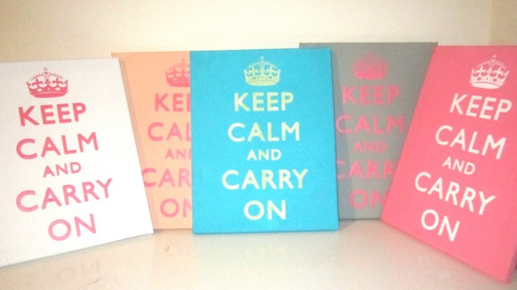 Keep Calm and Carry On Canvas Wall Sign. $19.00, via Etsy.