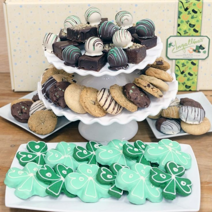 Ingallina's Box Lunch Seattle offers St Patty's Day Giant Bakery Gift Box including brownies, cake bites,  Mint Chocolate Chip and Frosted Shamrock Shortbread cookies a perfect gift basket for St. Patrick's Day Celebration.
