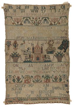 English Sampler ~ Mary Culley ~ Finchampstead (Wokingham Borough of Berkshire, England) ~ Band sampler ~ dated 1790 ~ The Fitzwilliam Museum