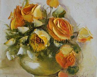 Flor arte espátula florero firmado lino lona estirada