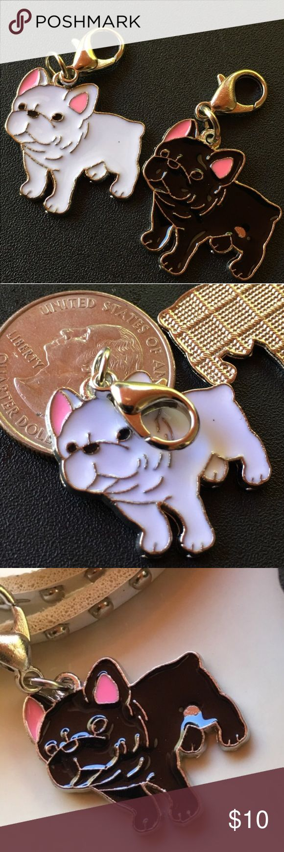 French bulldog clip charm- black or white Great for key chain or to hang anywhere. Enameled on silver colored metal. Price firm unless bundled. Accessories Key & Card Holders