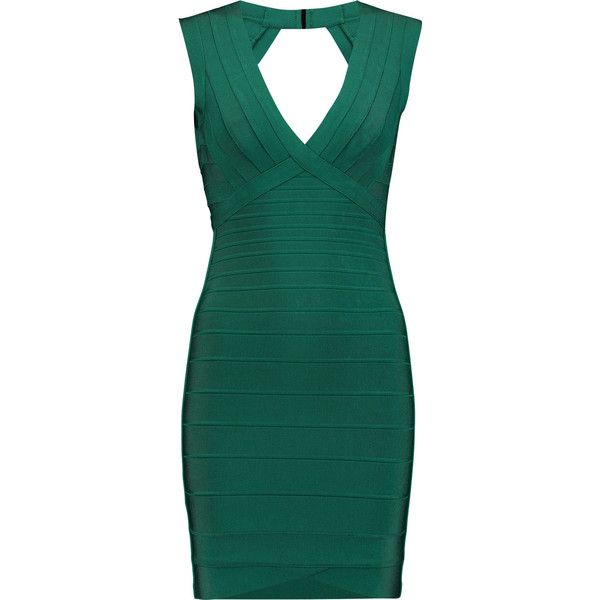 Hervé Léger - Cutout Bandage Mini Dress (€470) ❤ liked on Polyvore featuring dresses, forest green, green cocktail dress, short green dress, cut out bandage dress, herve leger dress and forest green dress