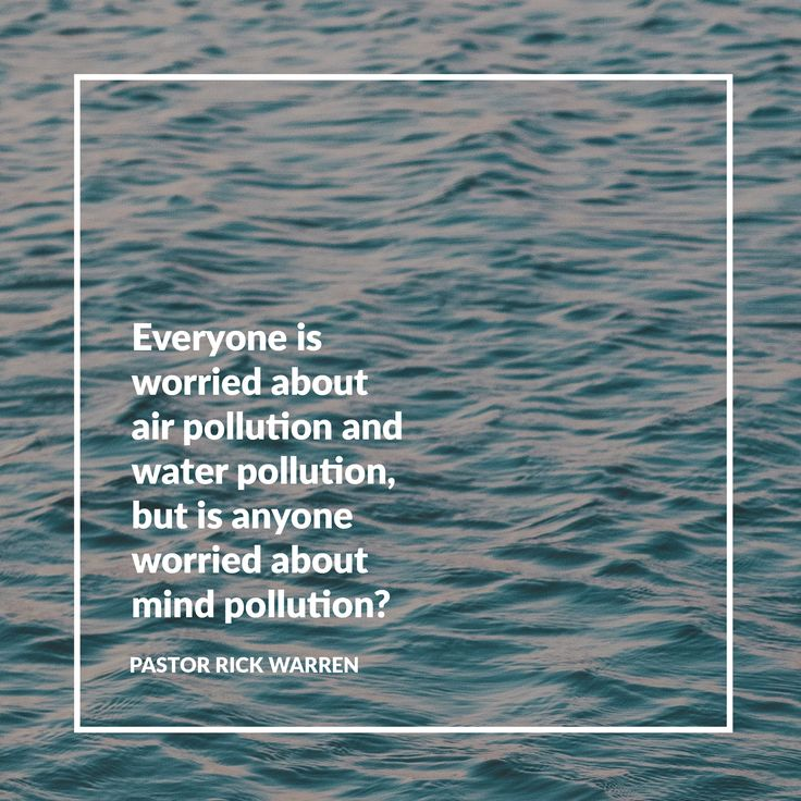 Everyone is worried about air pollution and water pollution, but is anyone worried about mind pollution? -Pastor Rick Warren