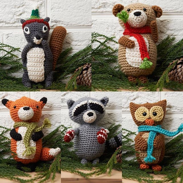Crochet your own woodland creature ornaments! With a squirrel, bear, fox, raccoon, and owl, you'll have the full array of animals come to visit your home. Click on the link in our profile to download the free crochet patterns and buy the yarn, or search for LW3701 Fox Ornament, LW3699 Squirrel Ornament, LW3702 Bear Ornament, LW3700 Raccoon Ornament, or LW3698 Wise owl Ornament on RedHeart.com. #crochet #crochetersofinstagram #animals #amigurumi #christmas #freepattern #redheartyarns