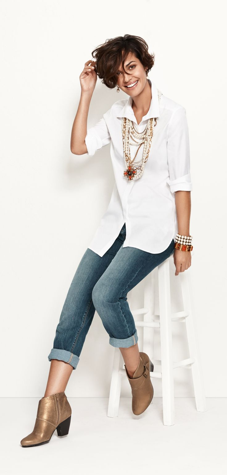 Bold Pearls  Now: With casual, cuffed denim.#chicossweeps                                                                                                                                                                                 More