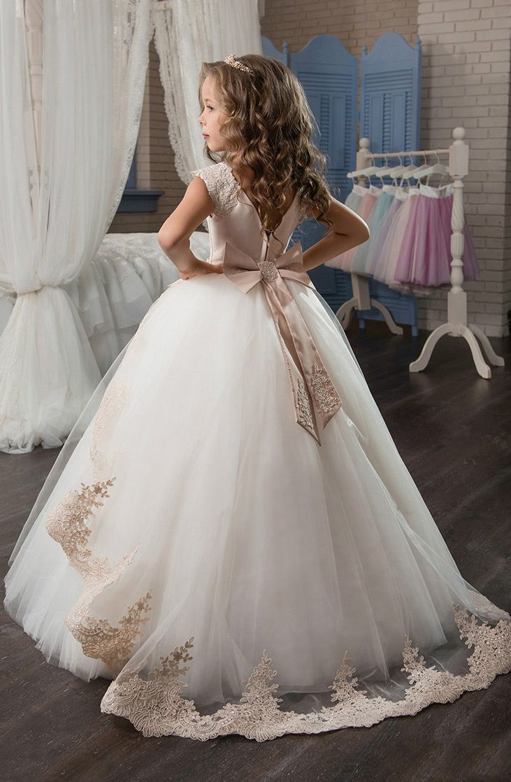 Marvelous Tulle & Satin Jewel Neckline Ball Gown Flower Girl Dresses With Lace Appliques