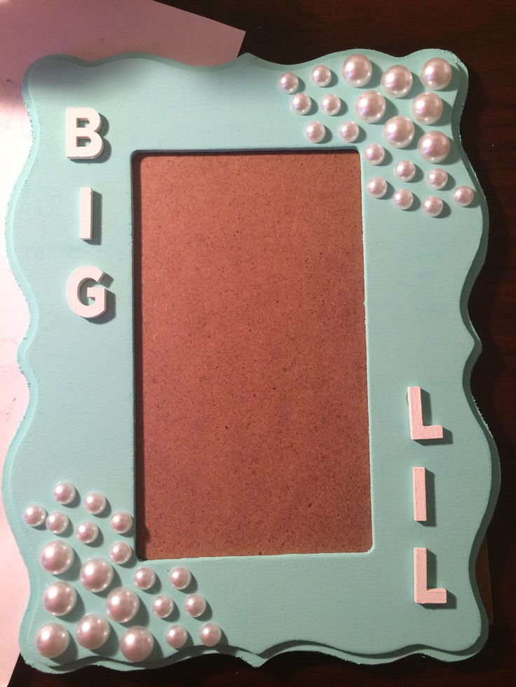 Big and Lil picture frame, Tiffany Blue with pearls, sorority, Gamma Phi Beta, Big/Little Ideas
