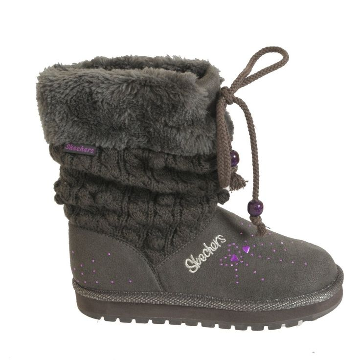 Skechers Peacefull Girls Warm Lined Grey Boots 88719L | Grey boots ...