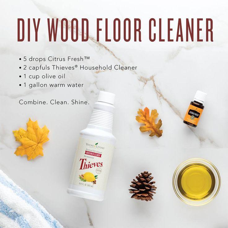 Young Living Essential Oils:  DIY Wood Floor Cleaner | WWW.THESAVVYOILER.COM