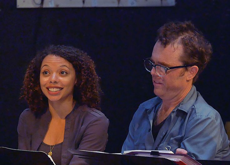 Our Sally Hemings (Tara Pacheco) and Thomas Jefferson (Mark Anderson Phillips) at our first read-through for THOMAS AND SALLY!