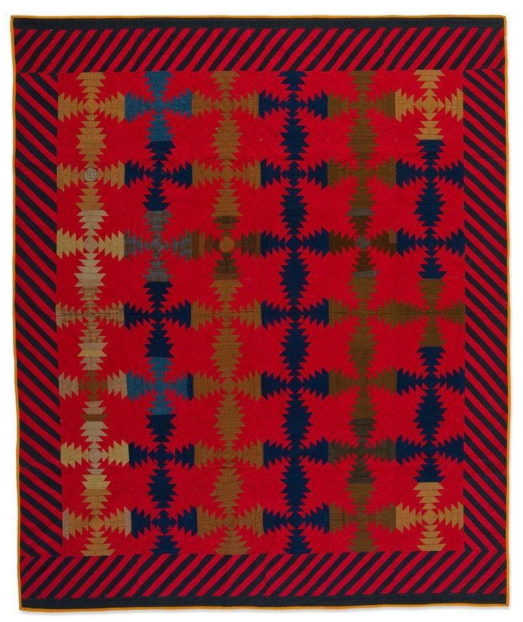 "Log Cabin - Pineapple variation quilt, 78 x 65"",, about 1890.  Pennsylvania (Mennonite).  Speed Art Museum (Kentucky)."
