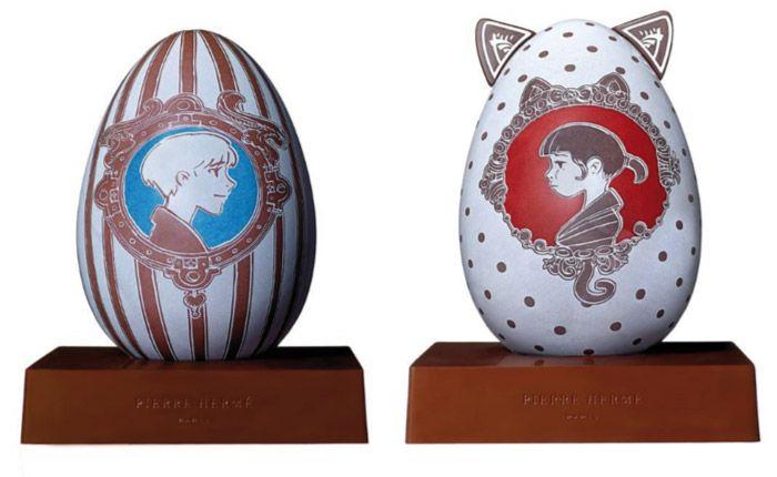 Tous les ans, Pierre Hermé s'associe à un artiste pour créer un œuf de Pâques. Cette année Nicolas Buffe a imaginé une série de dessins retraçant le parcours amoureux entre deux personnages : Hélios et Roxane. L'histoire nous sera révélée au fil de l'année 2016. Œuf Hélios et Œuf Roxane : chocolat noir origine Brésil, plantation Paineiras, 64% de cacao accompagnés d'un assortiment de bonbons au chocolat de 210g.