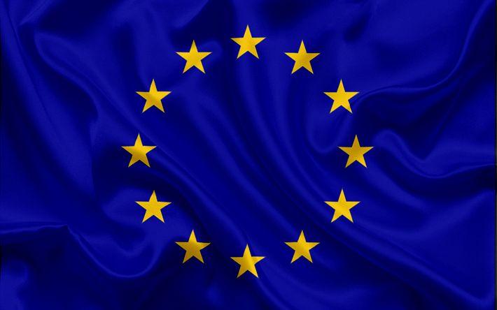 Download wallpapers flag of European Union, EU, Europe, European Union, blue silk flag, EU flag