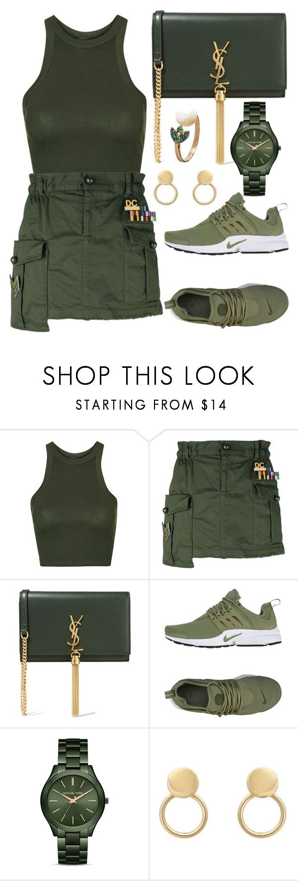 """""""Untitled #5062"""" by tatyanaoliveiratatiana ❤ liked on Polyvore featuring Topshop, Dsquared2, Yves Saint Laurent, NIKE and MICHAEL Michael Kors"""