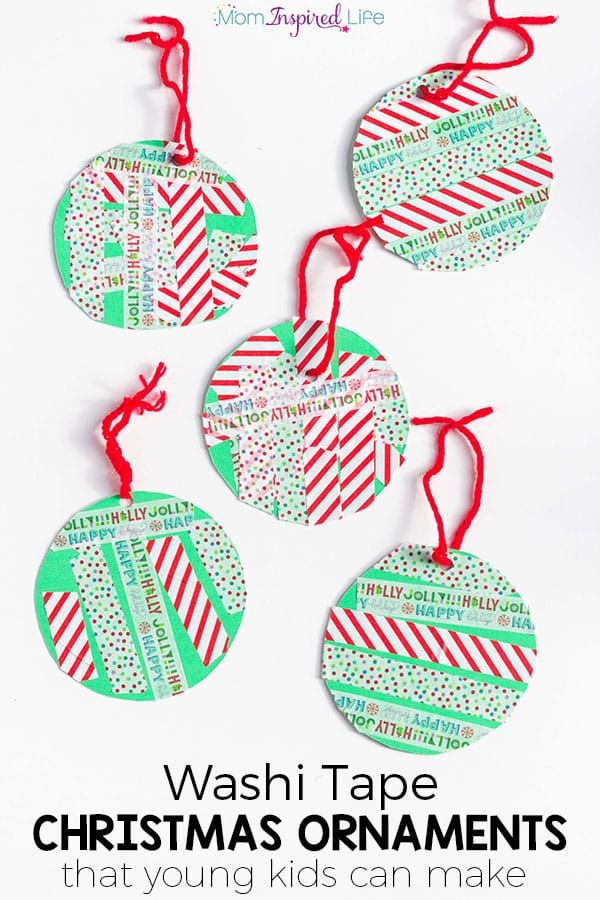 Washi tape Christmas ornaments that young kids can make. Easy Christmas craft idea for preschoolers!
