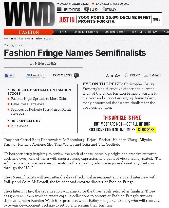 Fashion Fringe Semi Finalists announcement - WWD: Semifinalist
