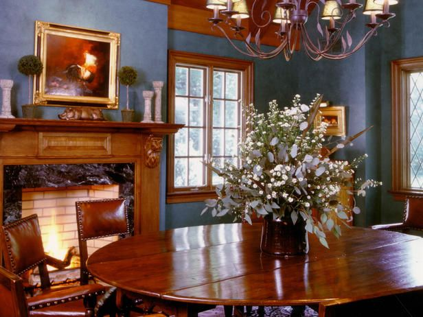 Warm Blue Dining Room