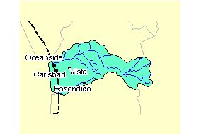 closeup map of watershed area