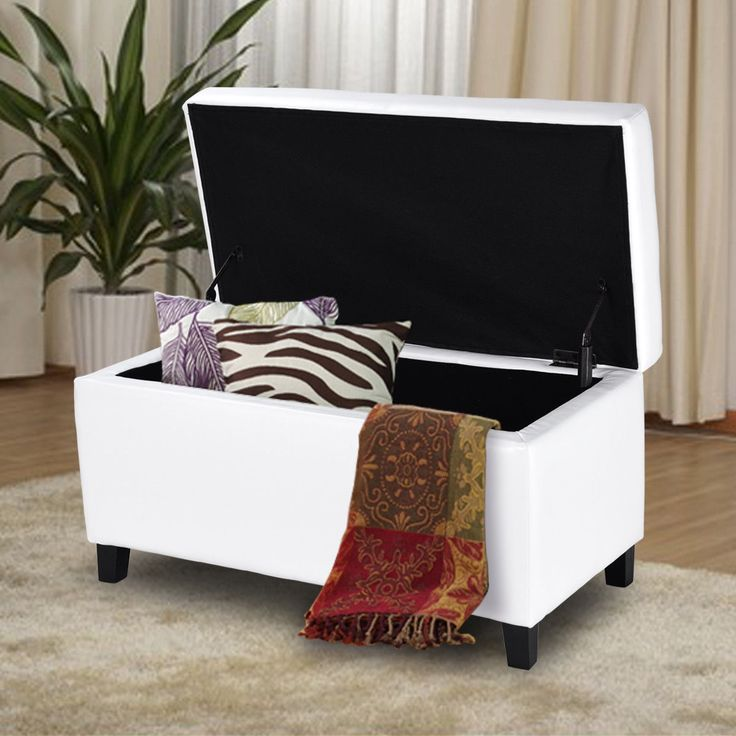 "33.5"" Single PU leather #Storage Footstool Ottoman Bench"
