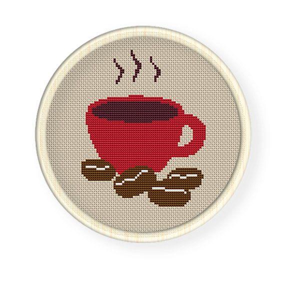 Buy 4 get 1 free Cross stitch pattern PDFcoffee  by danceneedle, $3.50