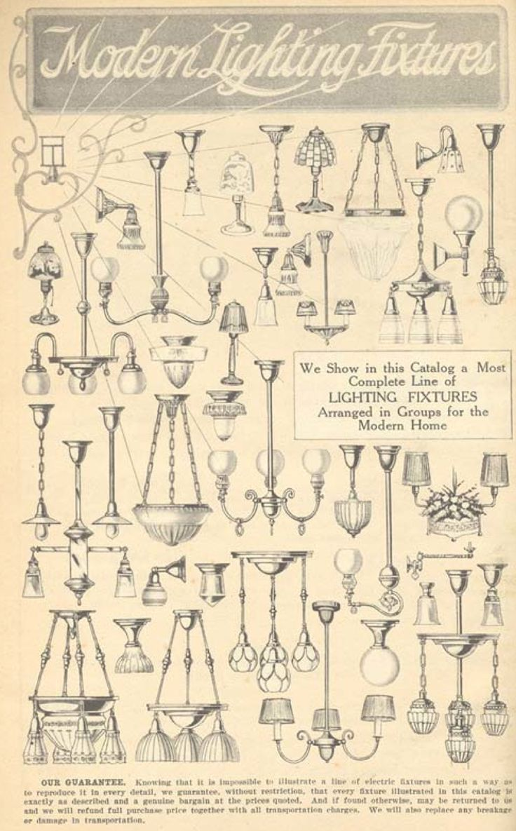 A selection of lights from the Aladdin 1916 furnishings catalog.