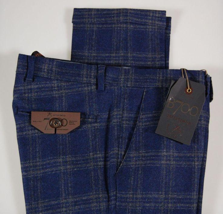 Pantalone in lana stretch a quadri bsettecento slim fit
