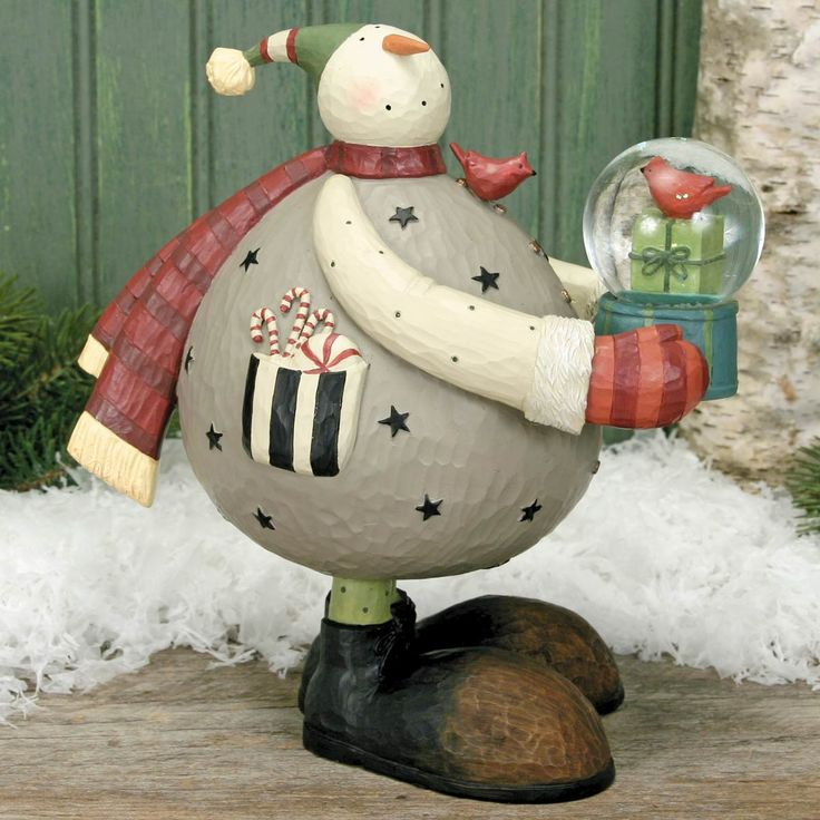 Snowman with Cardinal Waterball by Williraye Studio