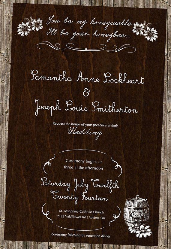 24 best geometric theme invitations images on pinterest rustic vintage chic honey wedding invitation honeysuckle honeybee country lyrics sunflowers stopboris Image collections