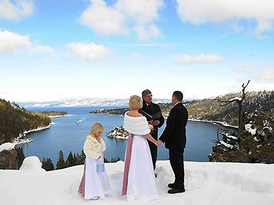 High Mountain Weddings Lake Tahoe Winter Wedding Overlooking Emerald Bay